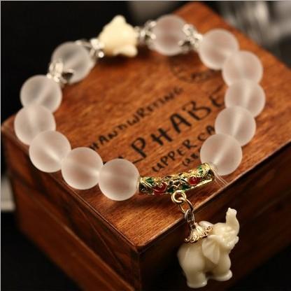 Естественная матирование кристалл браслет супер сладкий elephant женщины браслет 048
