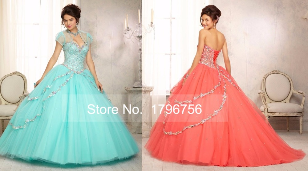 Quinceanera Dresses 2014 Mint Hot Sale crystal ball gown