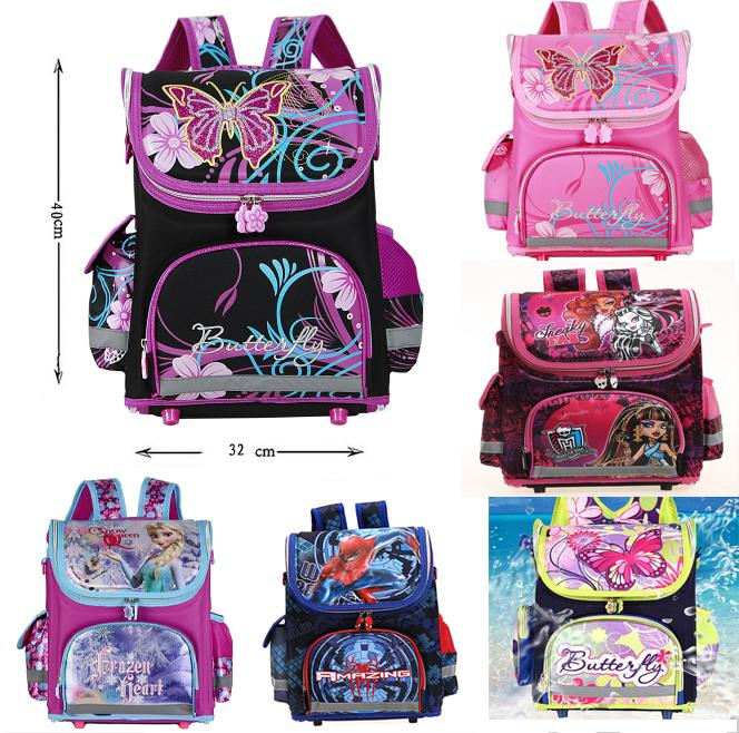 2015 Kids School Backpack Monster High Butterfly Winx Eva Folded Orthopedic Children School Bags for Boys Girls Mochila Infantil