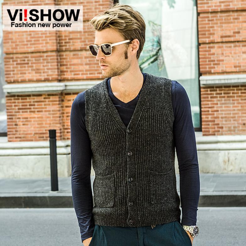 Viishow рукавов однобортный шерсть пуловеры свитер мужчин V воротник мужской джемпер мужчин бренд кашемировый трикотаж тянуть Homme
