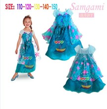 2015 Children Dress Cartoon Anna Elsa Girls Princess Dresses Fashion Performance Kids Party Dress Baby Lace