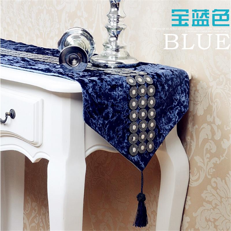 plush sequin table runner european classical chemin de table bleu satin decoration table runners. Black Bedroom Furniture Sets. Home Design Ideas