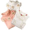 2016 Lace Shirt Fashion Girls Lace Blouses Children S Shirts Top Long Sleeve Flower Autumn White