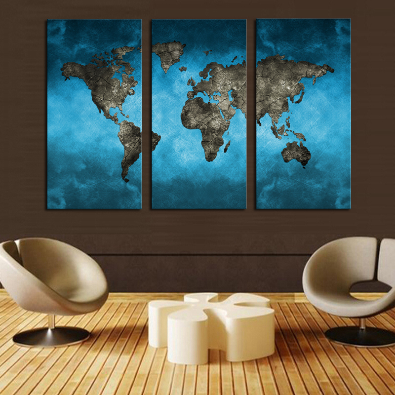 Aliexpress Com Buy Unframed 3 Panel Vintage World Map: 100%Hand Painted Abstract Sea Wave Oil Painting On Linen