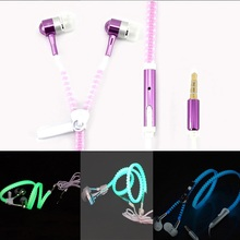 2015 New Metal Zipper Earphone Wheat Glow In The Dark Earphones Mobile Headset Light Luminous for Android&IOS Cellphone mp3/mp4