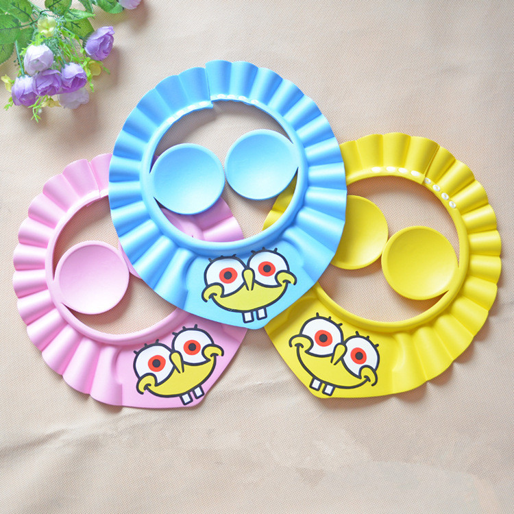 Cartoon Baby Care Plastic Shower Cap Children Shower Head Waterproof Earmuff Wash Hair Adjustable Baby Bath Visor Pink Blue 2015