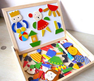 Multifunctional Wood Family Farm Animals City Magnetic Puzzle Magic Cubes Easel Double Sides Drawing Board Kids
