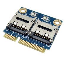 Dual TF Micro SD Card to Mini PCI-E Express with half Bracket Memory Card Reader Adapter