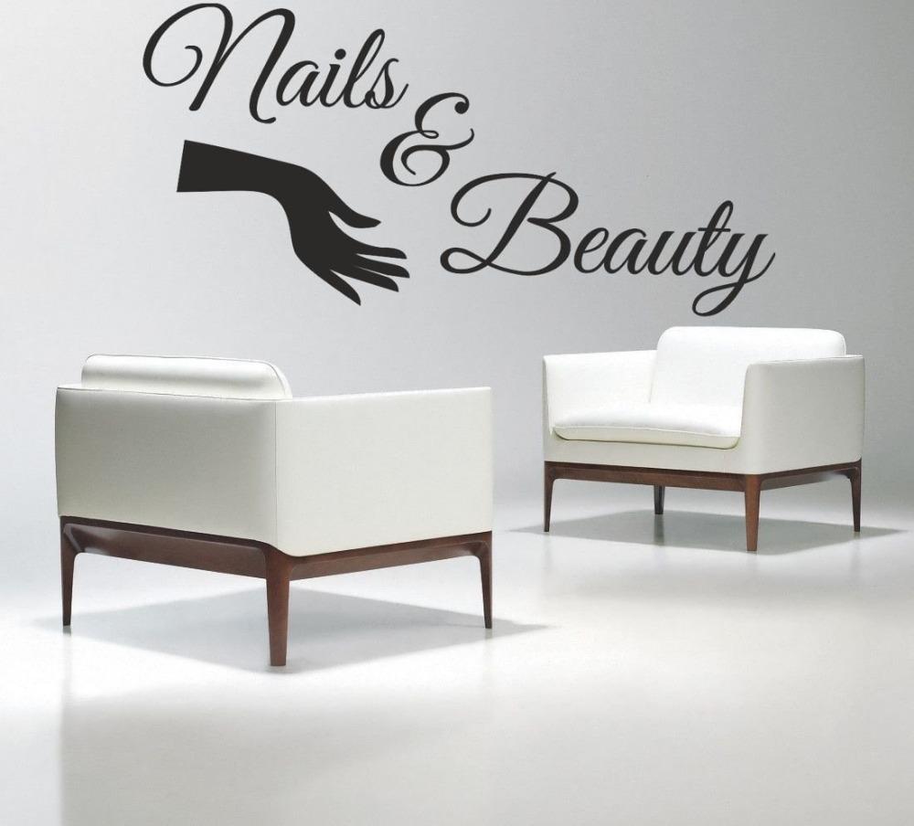 nail salon vinyl wall decal nails beauty salon varnish polish manicure lettering wall sticker. Black Bedroom Furniture Sets. Home Design Ideas