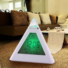 New 7 LED Color Pyramid Digital LCD Alarm Clock Thermometer PTSP