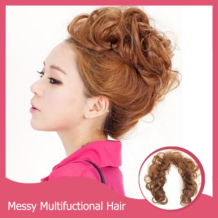 1 шт. волосы булочки резинки для волос бун волос пьеса прически невесты булочка естественного шиньон волнистые грязный Multifuctional синтетического вьющихся волос шиньон