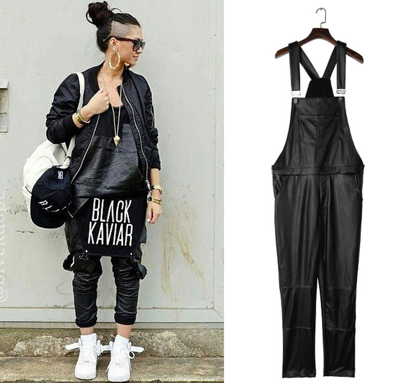 42d6a3eb829a ... PU Black Hip Hop Streetwear Faux Leather Rompers Jumpsuit For Men. leather  overalls (3) ...
