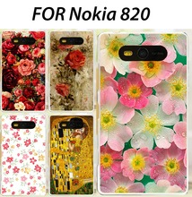 New Fashion Painting Flower Plastic Phone bag Case For Nokia Lumia 820 N820 Hard Case Back Cover Free shipping