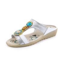 Женские босоножки с открытым носком GKTINOO, элегантные босоножки из натуральной кожи с кристаллами, летние сабо большого размера(Китай)
