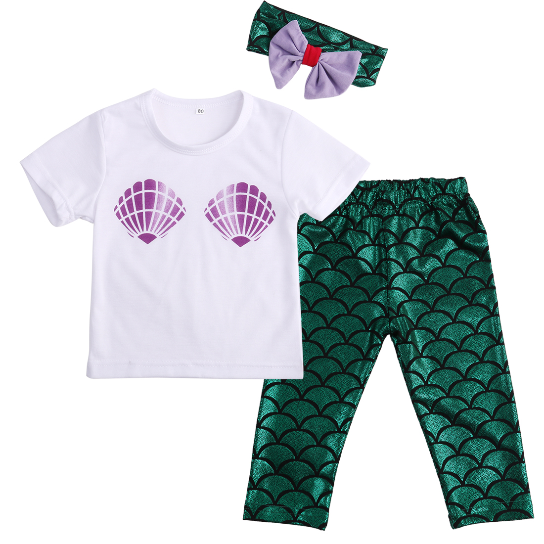 2be06417ac83 2019 Kids Infant Toddler Baby Girl Clothes Shell Tops T Shirt Mermaid Pants  Leggings Headband Outfits Set From Xunqian, $28.43   DHgate.Com