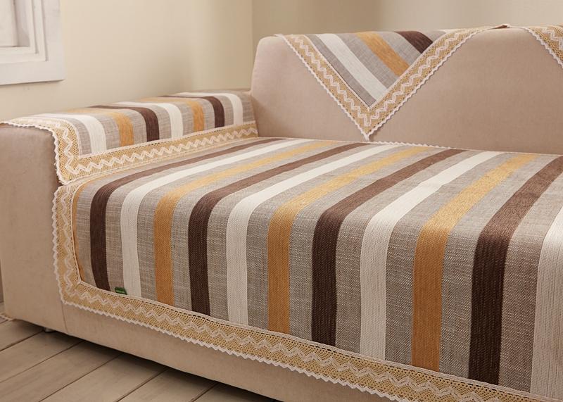 Cotton Vs Linen Curtains: Striped Fabric Sofa