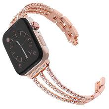 Женские Стразы, ювелирный браслет для Apple Watch, браслет 38 мм 40 мм 42 мм 44 мм для Apple iWatch, ремешок из нержавеющей стали, серия 2 3 4 5(China)
