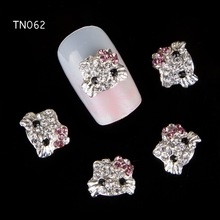 10pcs Glitter Kitty cat Rhinestones 3d Nail Art Decorations, Alloy Nail Sticker Charms Jewelry for Nail Gel/Polish Tools TN062