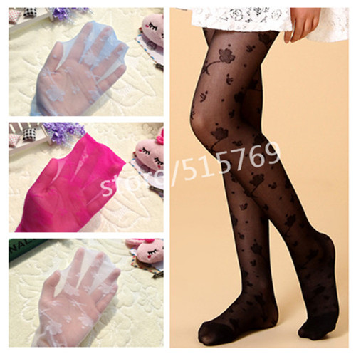 Girls summer slim lace silk thin pantyhose stockings sumflower jacquard pantyhose bottoming children tights 3 12Y