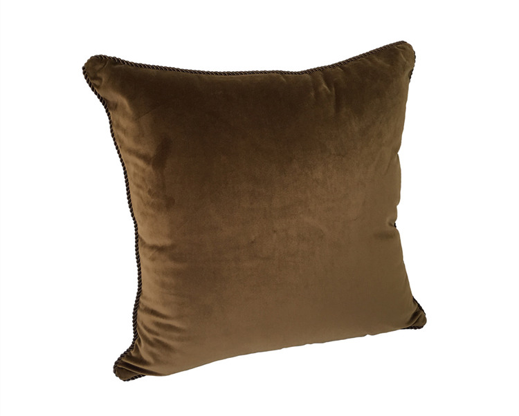 Solid Chocolate Dull Velvet Cushion Cover Rope Pipping Decorative Square  Pillow Case 45 x 45 cm Sell by piece - us722 4486518730