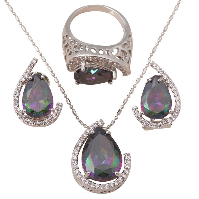 Luxury Design Pendants Earrings Ring Set silver 925 Inlay Mystic Topaz Zircon Fashion Jewelry set Sz