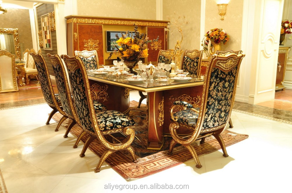 Aas46500 Royal Design Italian Style Dining Table Set Luxury Wooden Carving Room Furniture View Aliye Product Details