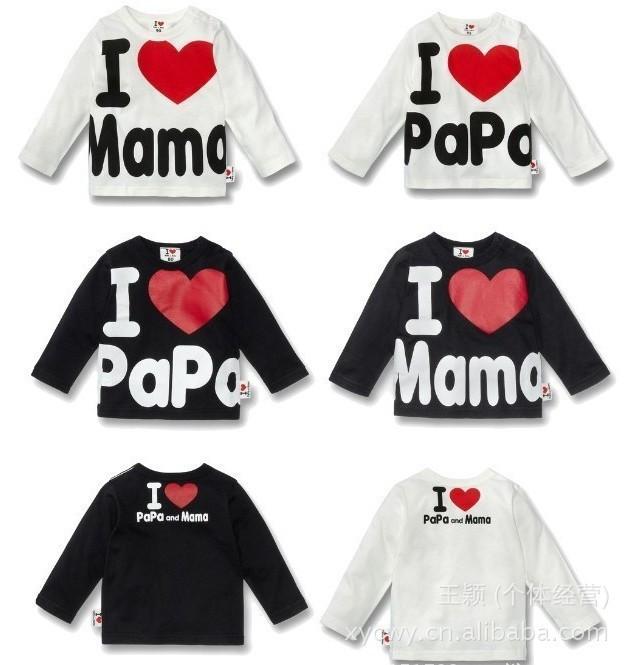 Розничная! я люблю папа и мама, весна осень детские детские 100% хлопок футболки футболка мальчики девочки с длинным рукавом тройники