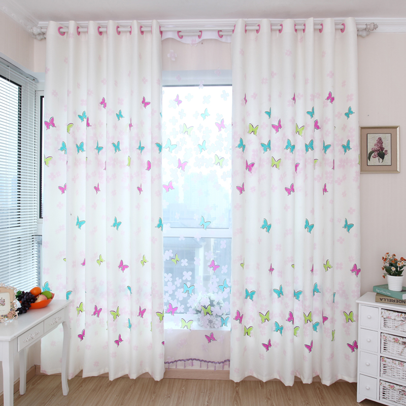 Window curtain burnt-out screens butterfly multicolour child real