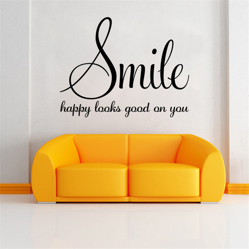 Smile Hy Looks Good On You Inspirational Quotes Diy Art Wall Sticker Home Decor 2017 Christmas