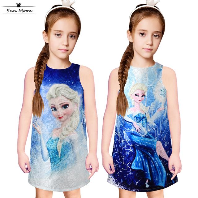 81e1a35d21a 2016 летние дети платье для девочек одежда без рукавов платье девушки мода  снежная .