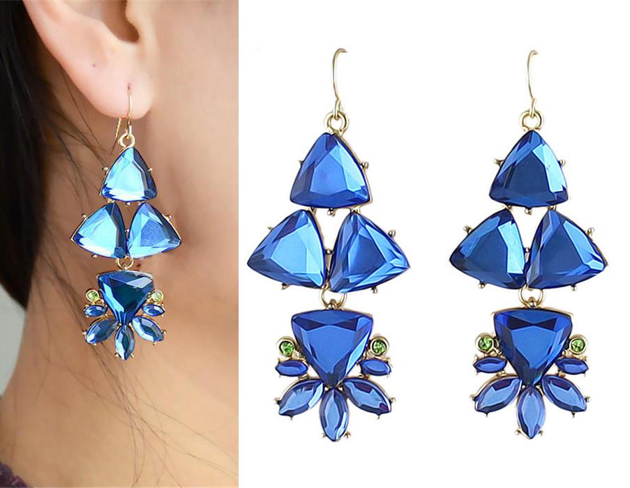 women rhinestone acrylic transparent triangle flower dangle earrings gold tone fashion jewelry. Black Bedroom Furniture Sets. Home Design Ideas