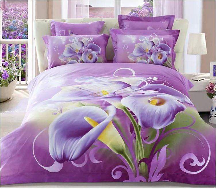 3d Purple Floral Bedding Comforter Sets King Queen Size