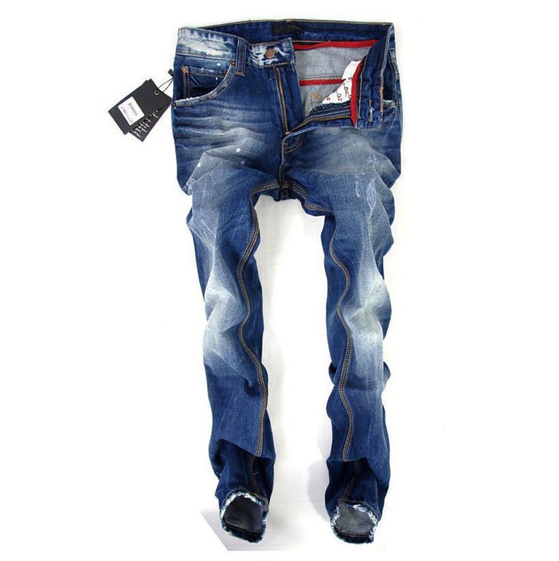 84bad84cd04 разорвал джинсы новый хлопка мужчин джинсы мода мужчины стрейт джинсы  высокого качества мужчин брюки тонкий нужным