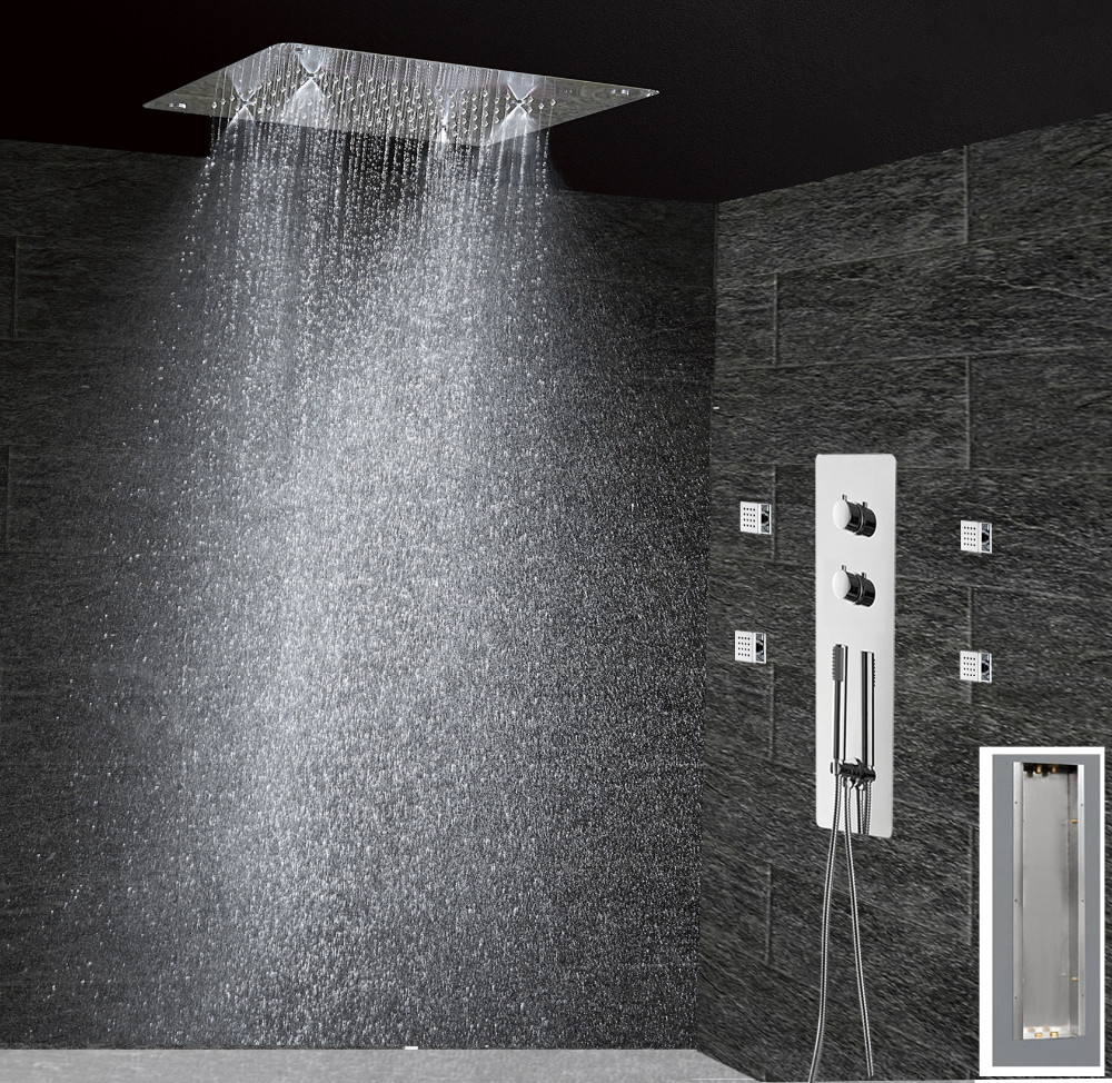 Bathroom Concealed Control Valve Thermostatic Mixing Valve Brass Wall Mounted 2 Ways Shower Panel Stainless Steel Controller Removing Obstruction Shower Faucets Shower Equipment