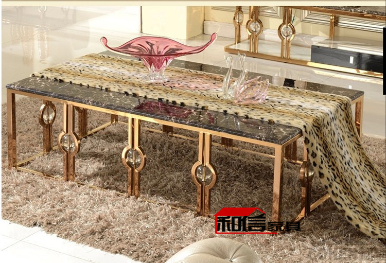 After The Rose Gold Stainless Steel Coffee Table, End