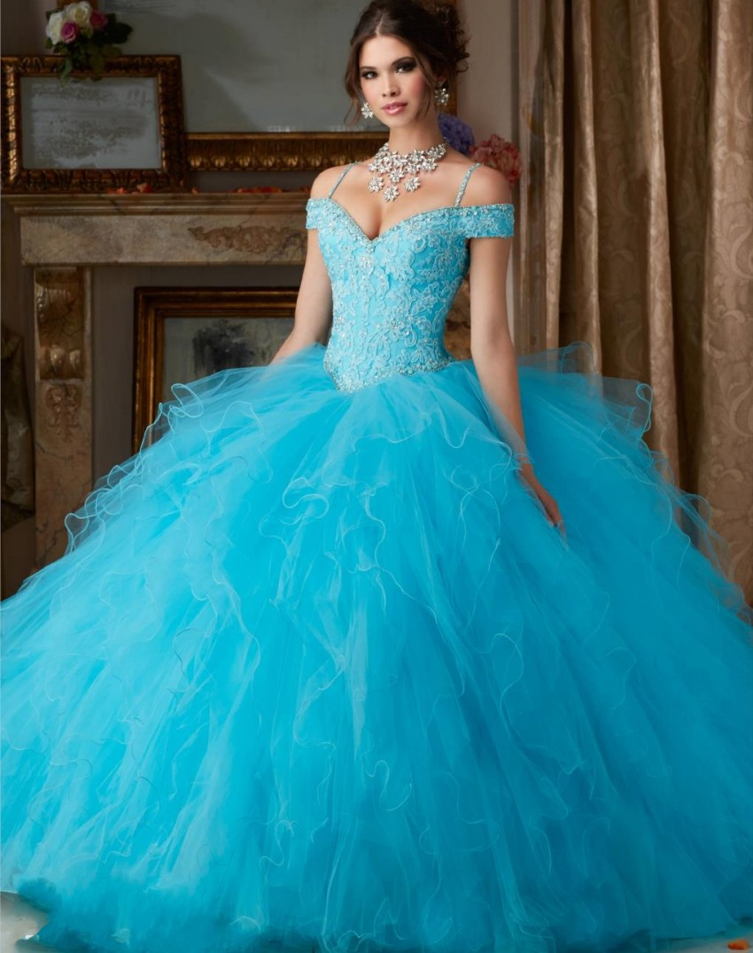 1c474879d Coral Blue Champagne Quinceanera Dresses Puffy Ball Gown Lace Vestidos De  Quince Anos 2016 Sweet 16 Girls Dress