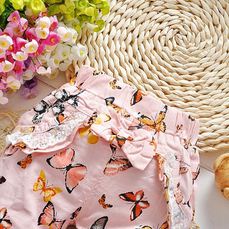 Осень весна девочки бабочка печать с бантом зарубежные брюки брюки дети одежда