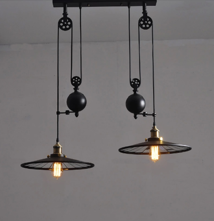 Vintage Black Wrought Iron Light Fixture: Kitchen Industrial Vintage Lamp With Wheels Retro Black