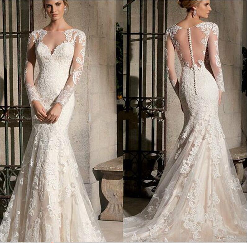 2015 New Elegant Full Long Sleeves Mermaid Wedding Dresses: 2015 Elegant Scoop Long Sleeves Lace Wedding Dress Mermaid
