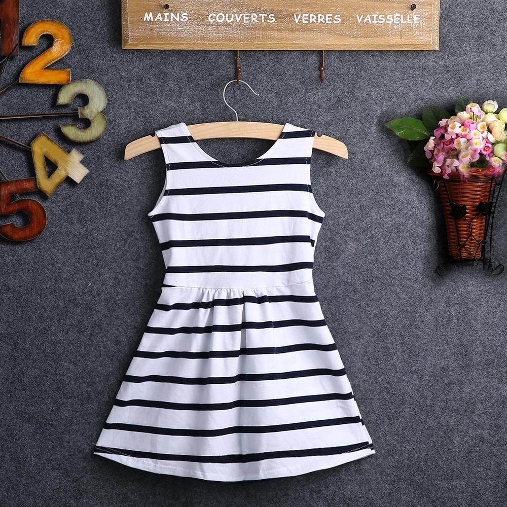 Wholesale 2016 Summer Baby Kids Girls Striped font b Dress b font Party Wedding Striped BackLess