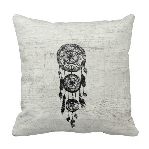 Ugly Hipster Lace Black Dreamcatcher On White Wood Pillow Case (Size: 20