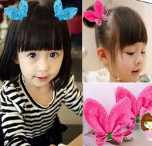 10pcsEurope To p US Sell Blue Rabbit Ear Bow Baby Hairpins Enfants Girls Lovely Hair Clip