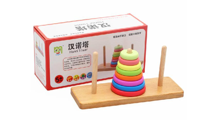 kids Hanoi Tower games Children s early education wooden toys Parent child toy Free delivery