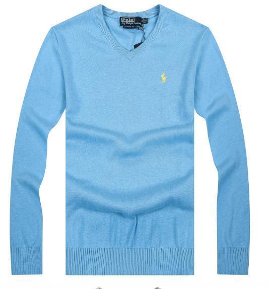 Поло с v-образным вырезом шерсть свитер вязаный свитер мужчины свитер рукав сплошной цвет