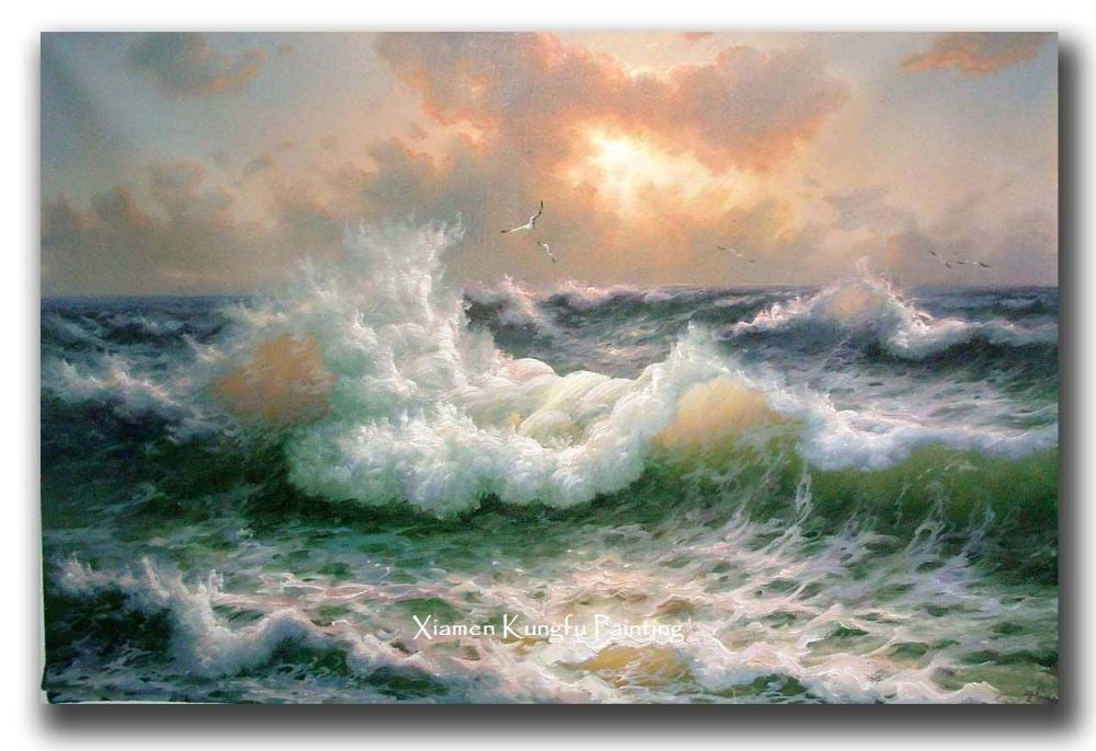 100% hand painted high quality canvas ocean waves oil