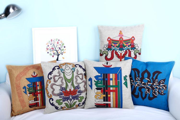 Free shipping throw pillow wedding decor linen fabric gift Hot sale 100% new 45cm Arabic numerals boho sofa cotton cushion cover