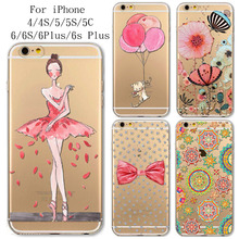 Phone Case Cover For iPhone 4 4s 5 5s 5c 6 6s 6Plus 6s Plus Ultra Soft Silicon Transparent Pink Cat Ballet Girl Flowers Bowknot