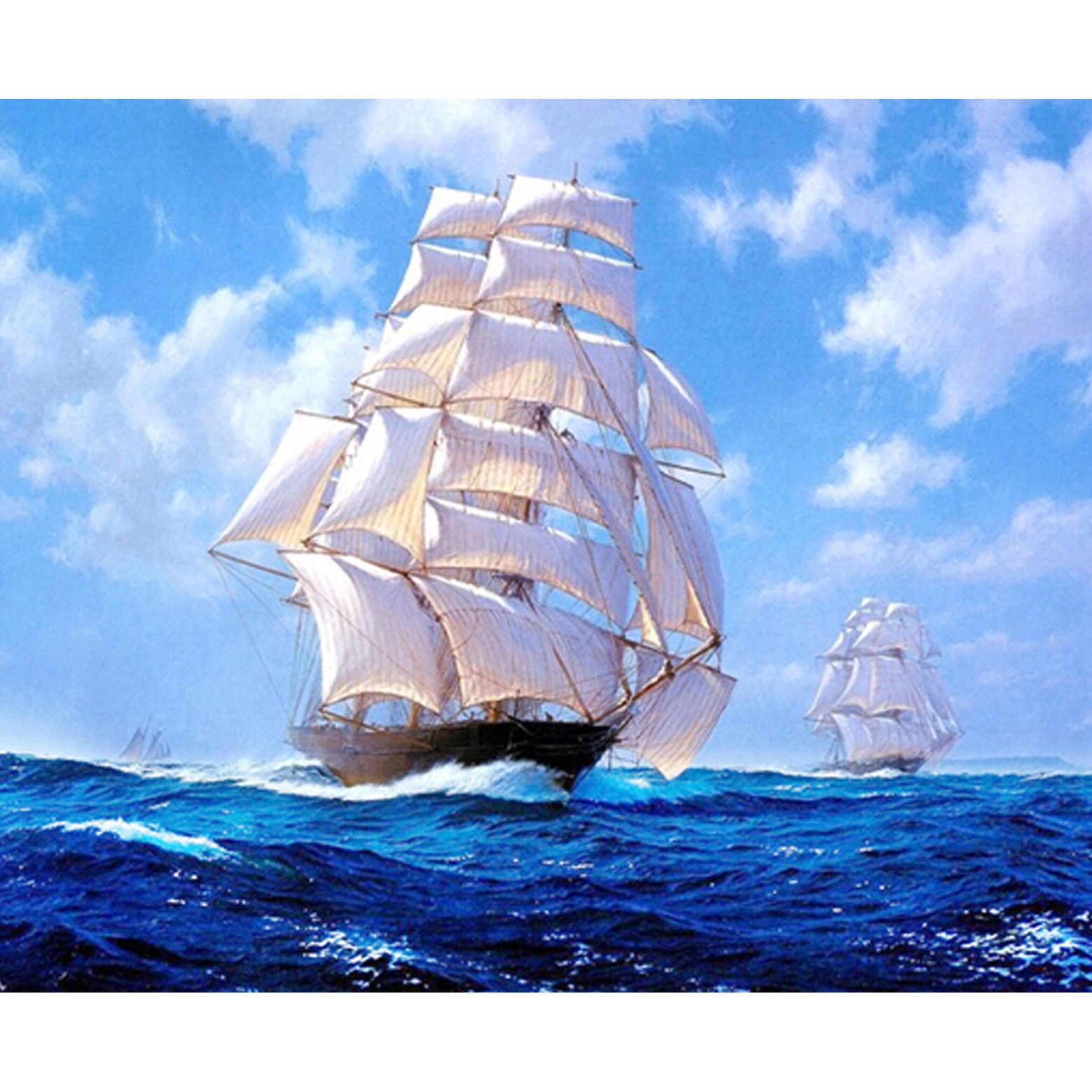 Western Style home decor 5D square Diy Diamond Painting Embroidery gift sailing ship living room sticker 55X45CM RZD-266