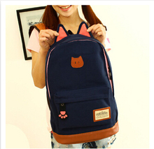 2015 Hot sales campus girls backpack women travel bag of young men canvas backpack outdoor sports bags Cat ears cartoon package