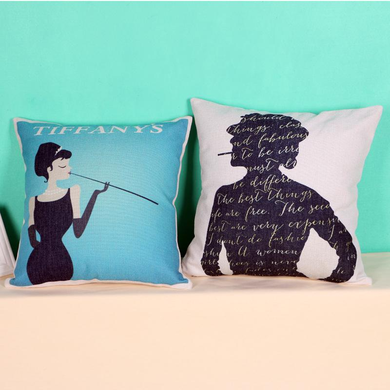 Free Shipping Hepburn Tiffany Cotton Linen Fabric Decorative Cushion 45cm Hot Sale New Home Fashion Christmas Gift Pillow
